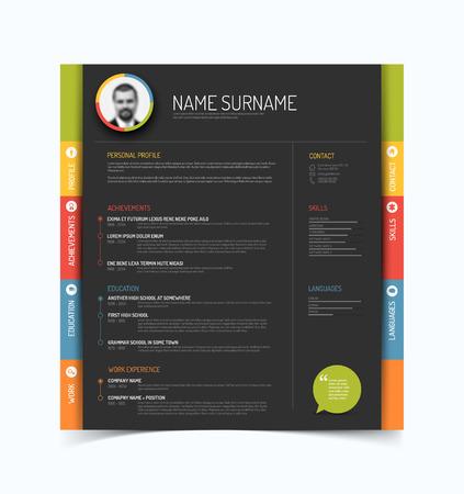 minimalist: Vector minimalist cv  resume template - color version with a profile photo - dark gray background