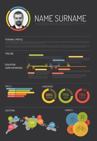 Vector original minimalist cv / resume template - with lot of infographic elements - dark gray version