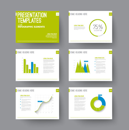 sample text: Vector Template for presentation slides with graphs and charts - blue and green version