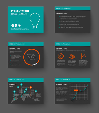 magazine layout: Vector Template for presentation slides with graphs and charts - teal and red version