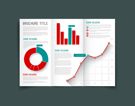 Modern Vector three fold brochure  leaflet  flyer design template with graphs and charts - red and teal version Vector