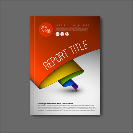 Modern Vector abstract brochure  book  flyer design template with rainbow colors