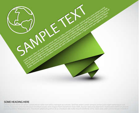 vector sample: Vector simple background with folded green paper and some sample text Illustration