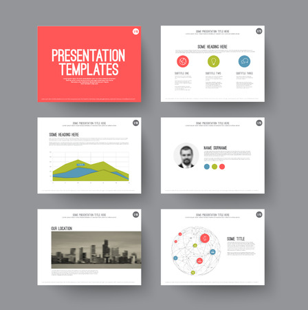 page layout: Vector Template for presentation slides with graphs and charts