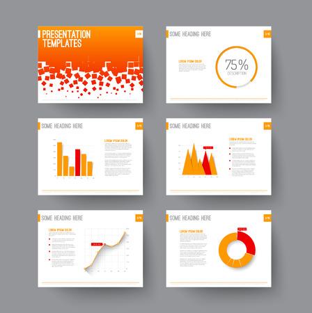 그래프와 차트와 프리젠 테이션 슬라이드 벡터 템플릿 - 붉은 색과 오렌지색 버전 일러스트