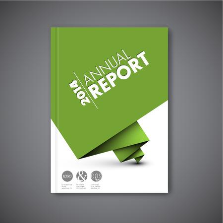 現代ベクトル抽象パンフレット本チラシ デザインの緑色の紙のテンプレート