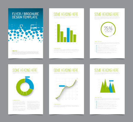 presentation card: Set of modern brochure flyer design templates with graphs, charts and other infographic elements - blue and green version Illustration
