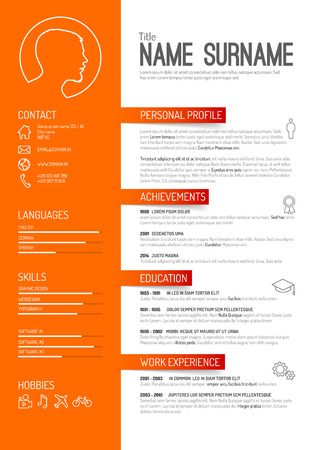 Vector minimalist cv / resume template - orange version Иллюстрация