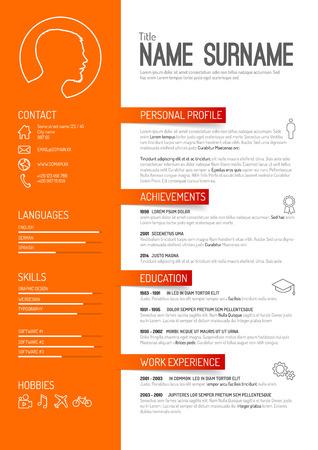 Vector minimalist cv / resume template - orange version Vettoriali