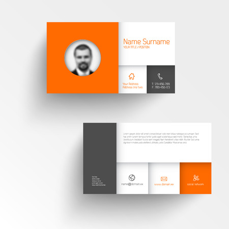 calling on phone: Modern simple business card template with flat mobile user interface and personal photo