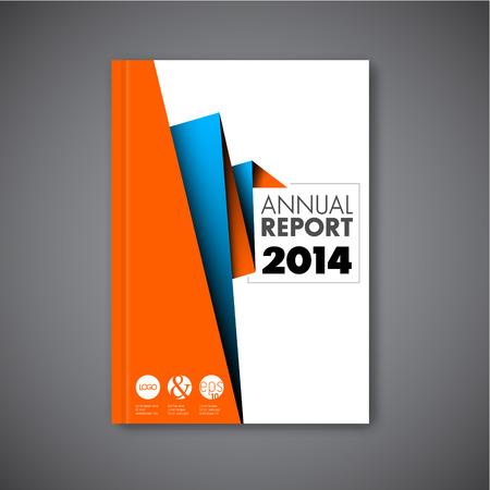 現代ベクトル抽象パンフレット本チラシ デザインのオレンジと青の紙テンプレート