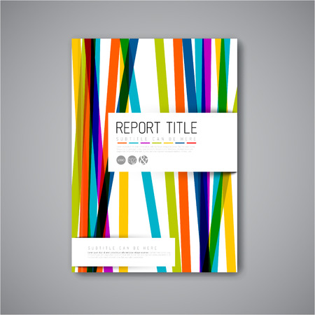 rainbow print: Modern Vector abstract brochure  book  flyer design template with color stripes