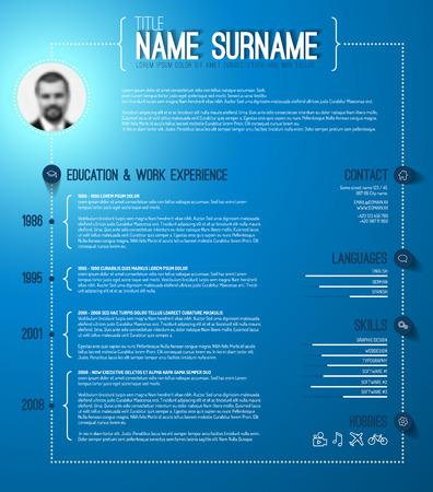 personal profile: Vector minimalist cv  resume template with timeline - blue version Illustration