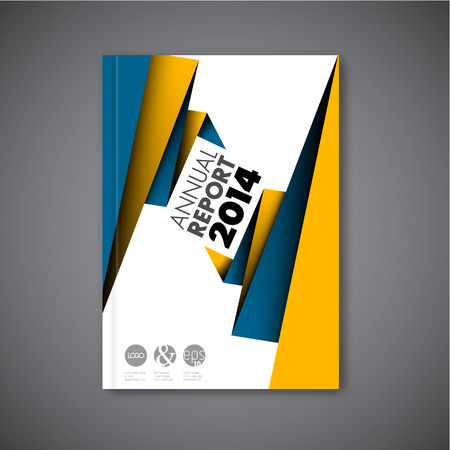 Modern Vector abstract brochure / book / flyer design template with yellow and blue paper
