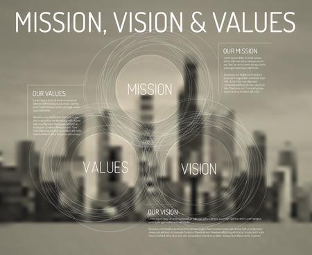 liderazgo empresarial: Vector Misión, visión y valores infografía esquema de diagrama con la ciudad de foto en el fondo