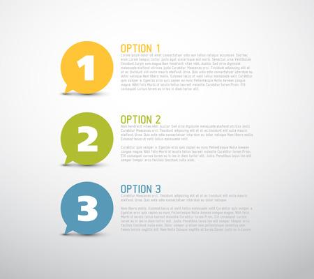 Één twee drie - vector vooruitgang tekstballonnen voor drie stappen of opties Stock Illustratie