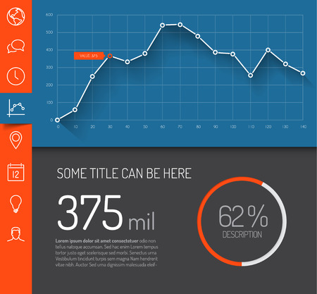 Simple infographic dashboard template with flat design graphs and charts - red and blue version Vettoriali