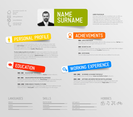 Vector minimalist cv  resume template design with colorful labels Illustration