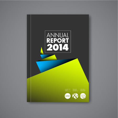 Modern Vector abstracte brochure / boek / flyer ontwerp sjabloon met blauw en groen papier - donkere versie Stockfoto - 40540538