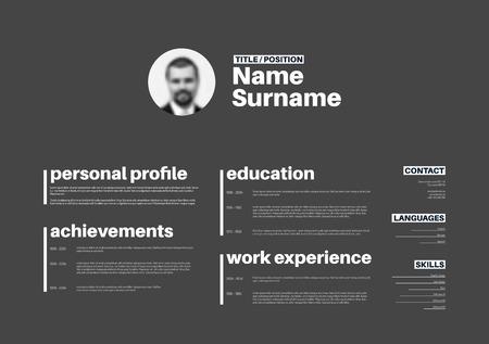 personal profile: Vector minimalist cv  resume template with nice typogrgaphy design - horizontal version Illustration