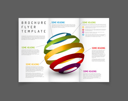 newsletter: Modern Vector three fold brochure  leaflet  flyer design template with graphs and charts Illustration