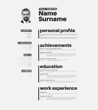 Vector minimalist cv  resume template with nice typogrgaphy design Иллюстрация