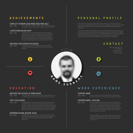 curriculum: Vector minimalist cv  resume template design - dark version