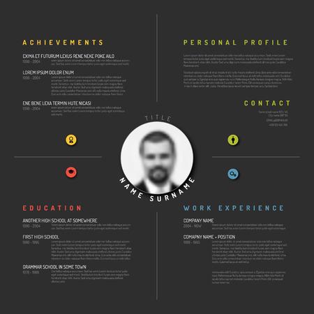 Vector minimalist cv / resume template design - dark version