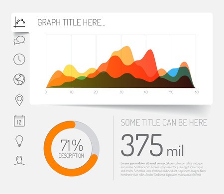 graph trend: Simple infographic dashboard template with flat design graphs and charts - light version