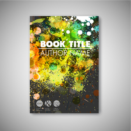 ink blots: Modern artistic Vector abstract book cover template with color ink blots - dark version