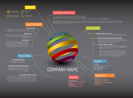 companies: Vector Company overview design template - dark version Illustration