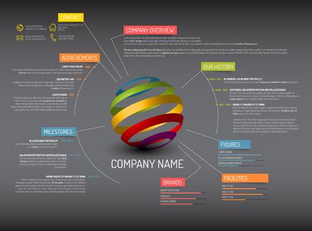 Vector Unternehmensüberblick design template - dunkle Version
