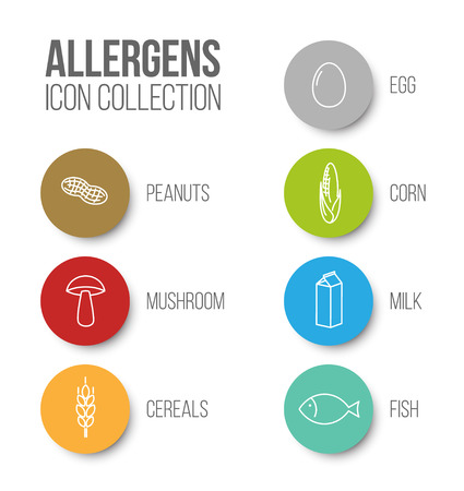 Vector icons set for allergens (milk, fish, egg, gluten, wheat, nut, lactose, corn, mushroom) - color version