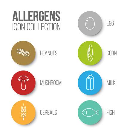 Vector pictogrammen die voor allergenen (melk, vis, eieren, gluten, tarwe, noten, lactose, maïs, champignons) - kleurenversie