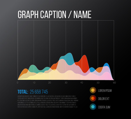 graphs and charts: vector flat design infographics statistics colorful graph template - dark version