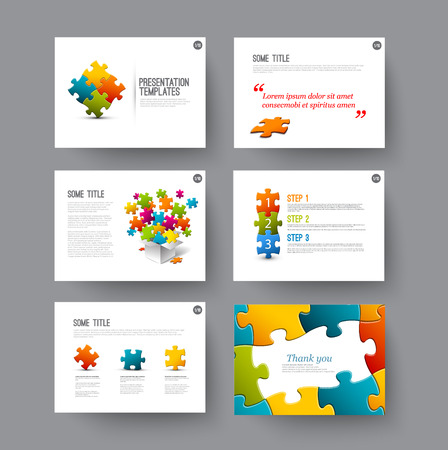 puzzle set: Vector Template for presentation slides with puzzle pieces