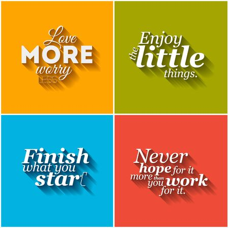 yellow art: Collection of  vector minimalistic typographic motivational quotes Illustration