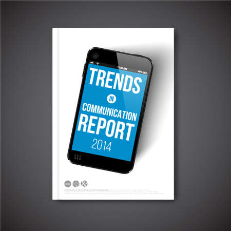 screenshot: Vector report template with realistic smartphone on the cover Illustration