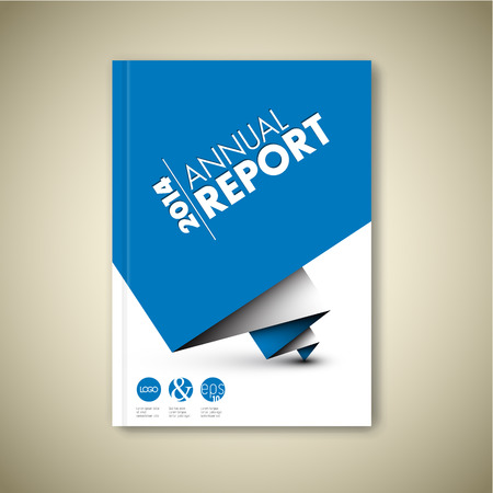 report cover design: Modern Vector abstract white brochure  book  flyer design template with blue paper Illustration