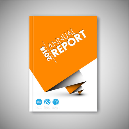 report card: Modern Vector abstract white brochure  book  flyer design template with orange paper