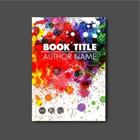 Modern artistic Vector abstract book cover template with color ink blots Illustration