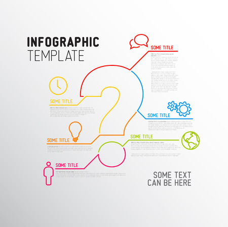 Vector Question Mark Infographic report template made from lines and icons Çizim