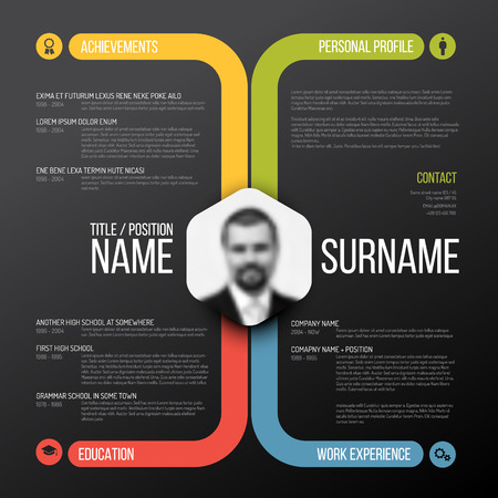 Vector minimalist cv / resume template design - dark color version