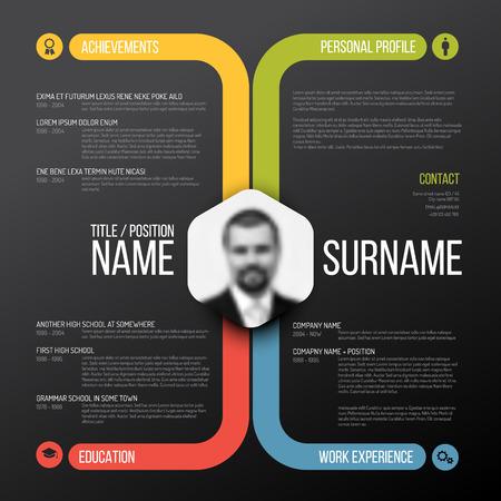 Vector minimalist cv / resume template design - dark color version