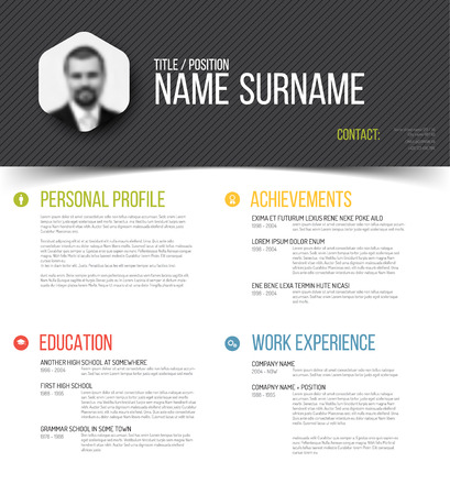 company background: Vector minimalist cv  resume template design with profile photo
