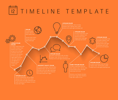 minimalistic: Vector Infographic orange timeline report template with minimalistic graph