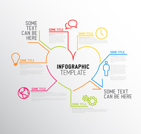 Vector heart / love Infographic report template made from lines and icons Illustration