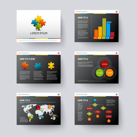 Vector dark Template for presentation slides with graphs and charts Vettoriali