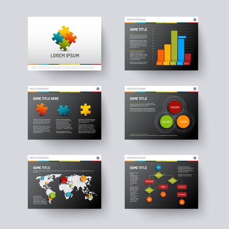 Vector dunklen Vorlage für Präsentationsfolien mit Grafiken und Diagrammen Illustration