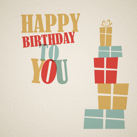 sample text: Happy birthday retro vector illustration with presents Illustration